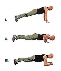 Bodyweight workout push up plank
